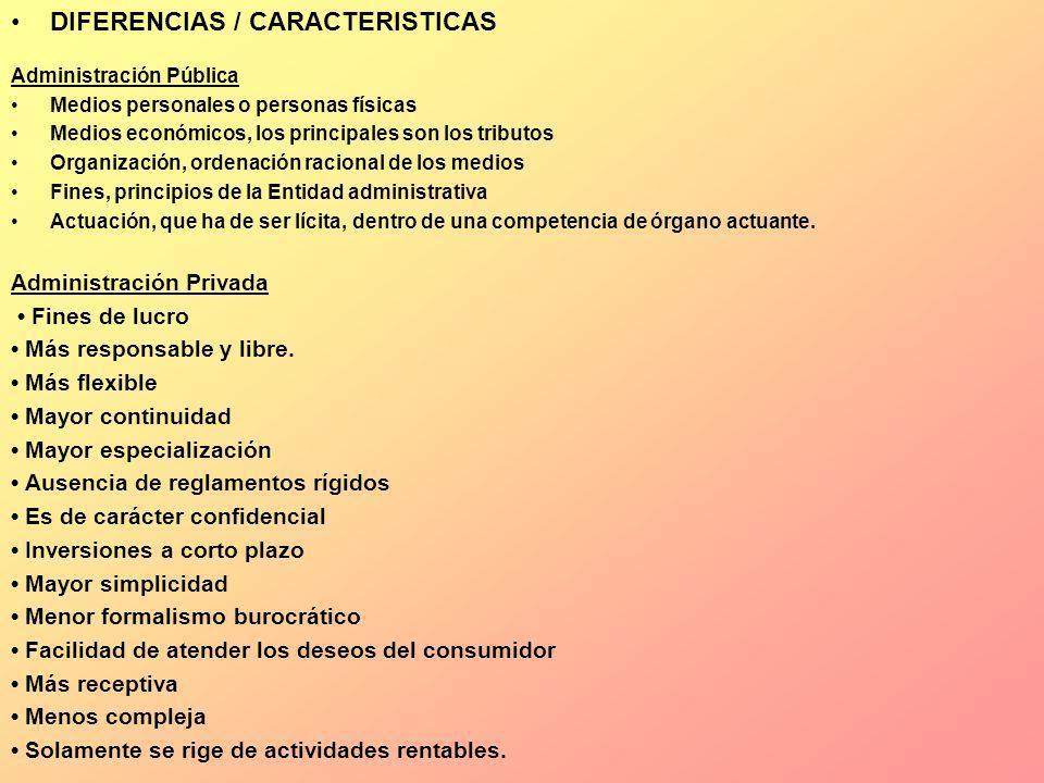 DIFERENCIAS / CARACTERISTICAS