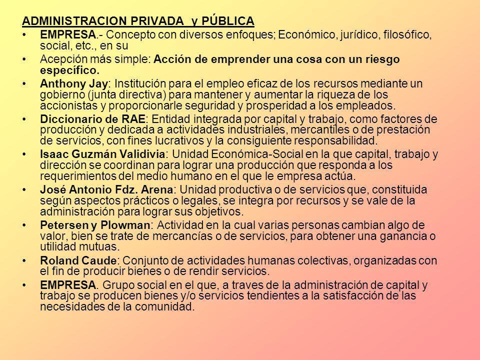 ADMINISTRACION PRIVADA y PÚBLICA