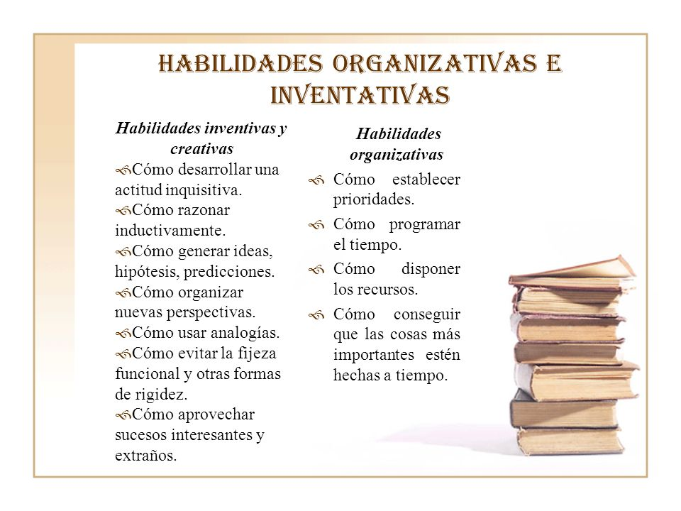 Habilidades organizativas e inventativas