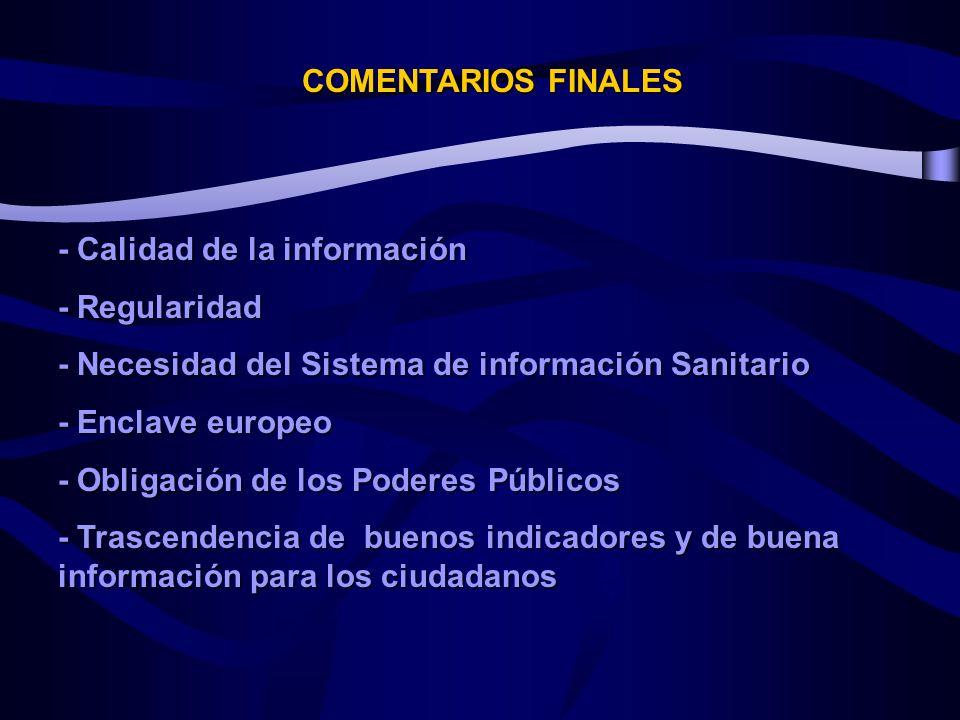 COMENTARIOS FINALES - Calidad de la información. - Regularidad. - Necesidad del Sistema de información Sanitario.