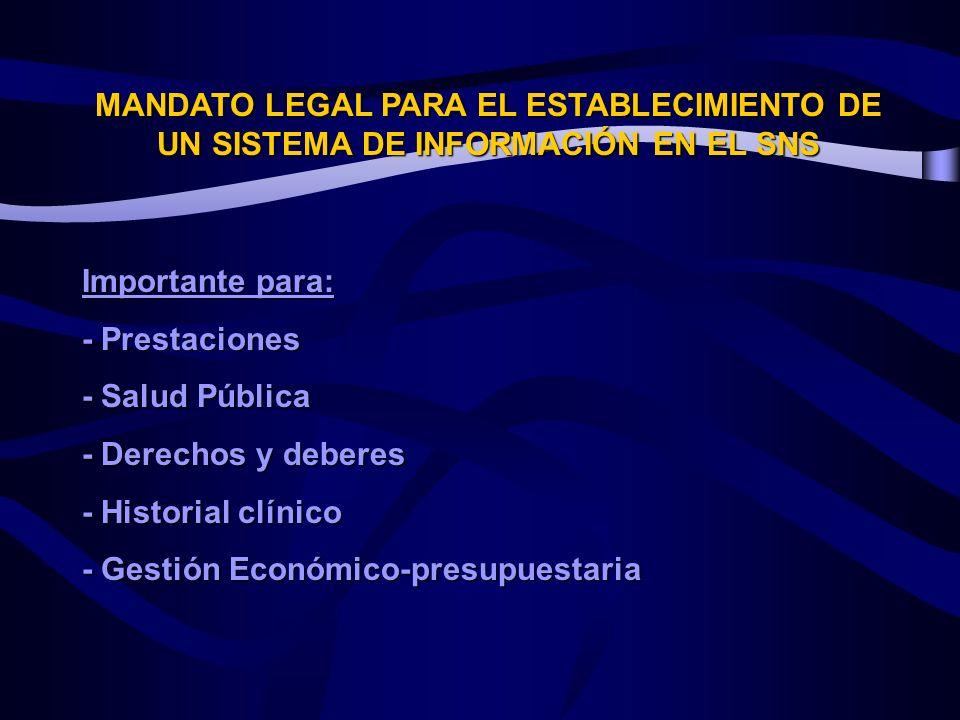 MANDATO LEGAL PARA EL ESTABLECIMIENTO DE UN SISTEMA DE INFORMACIÓN EN EL SNS