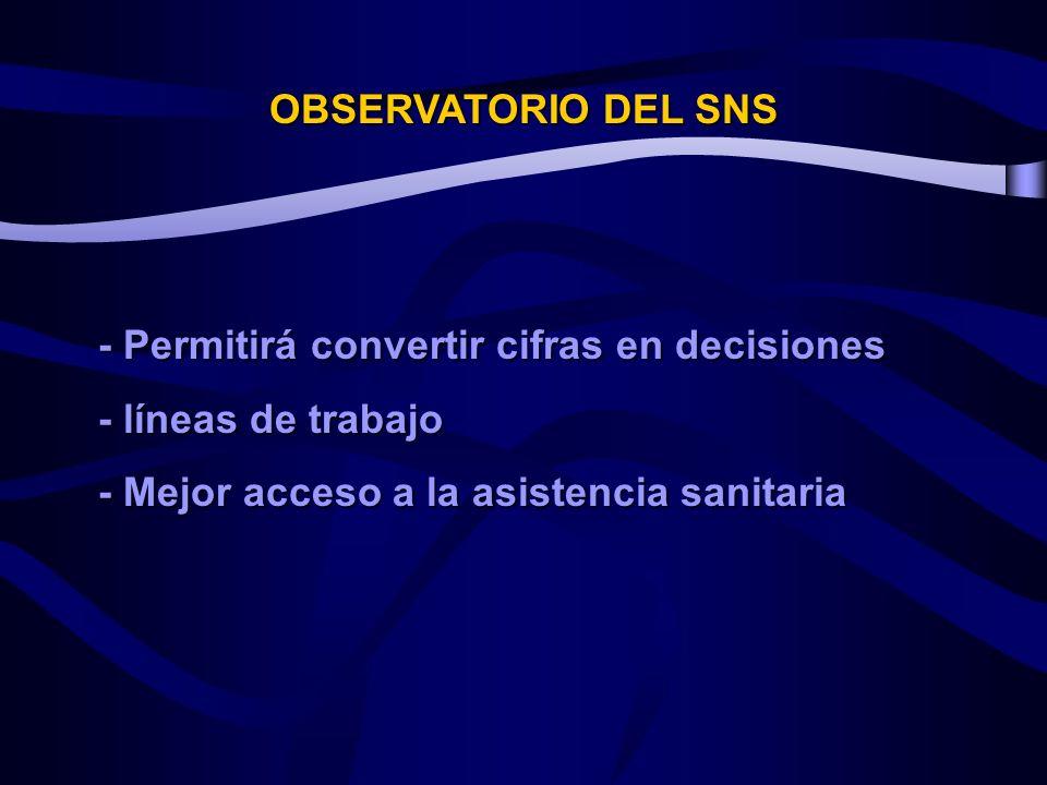 OBSERVATORIO DEL SNS - Permitirá convertir cifras en decisiones.