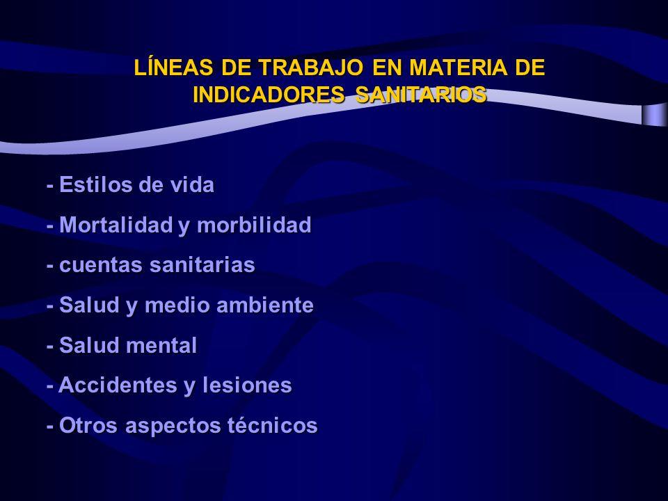 LÍNEAS DE TRABAJO EN MATERIA DE INDICADORES SANITARIOS