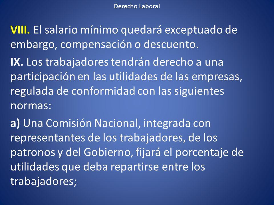 Derecho Laboral VIII. El salario mínimo quedará exceptuado de embargo, compensación o descuento.