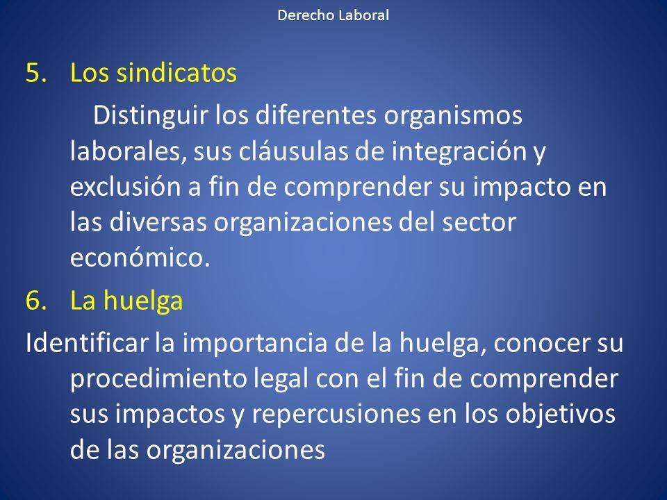 Derecho Laboral Los sindicatos.