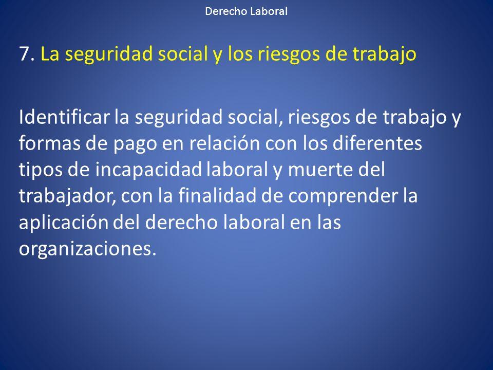 7. La seguridad social y los riesgos de trabajo