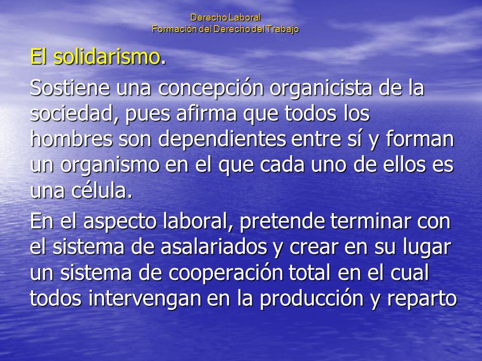 Derecho Laboral Formación del Derecho del Trabajo