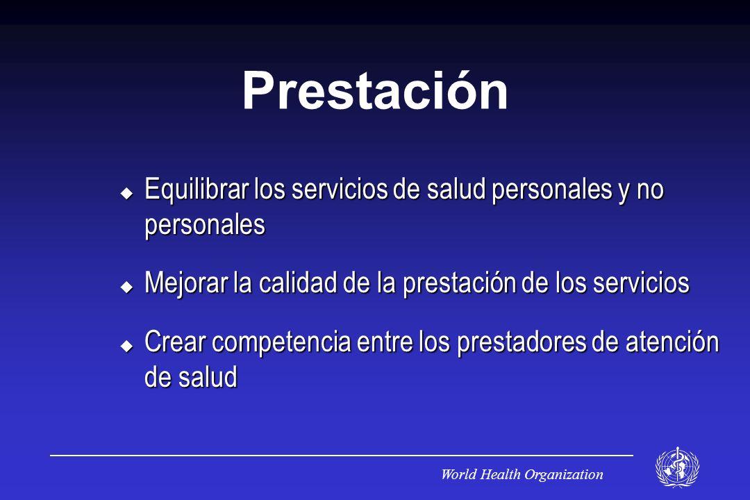 Prestación Equilibrar los servicios de salud personales y no personales. Mejorar la calidad de la prestación de los servicios.