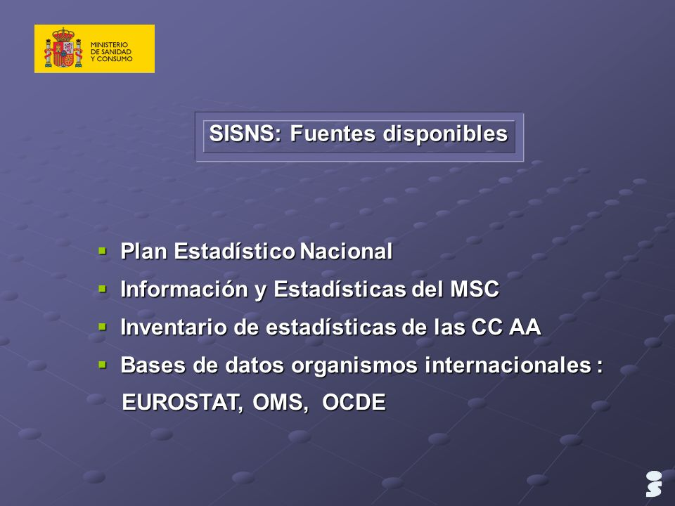 SISNS: Fuentes disponibles