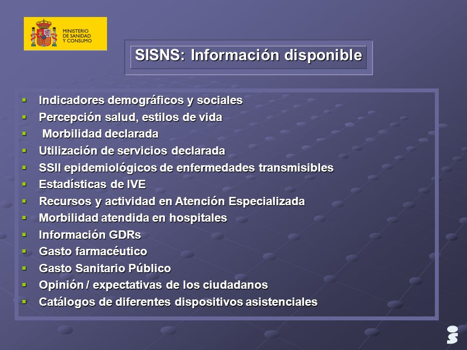 SISNS: Información disponible