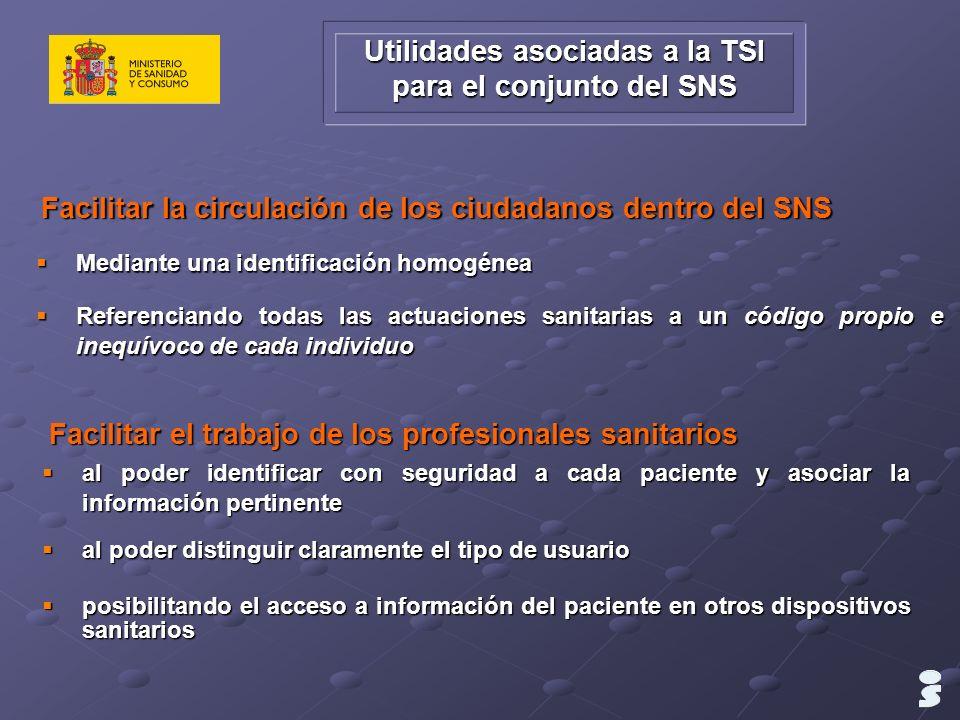 Utilidades asociadas a la TSI para el conjunto del SNS