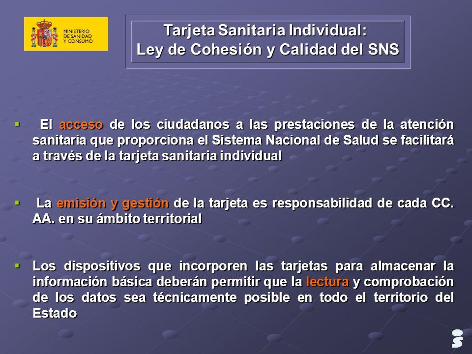 Tarjeta Sanitaria Individual: Ley de Cohesión y Calidad del SNS