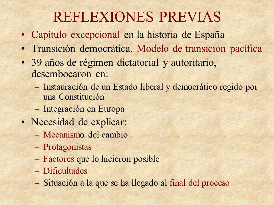 REFLEXIONES PREVIAS Capítulo excepcional en la historia de España