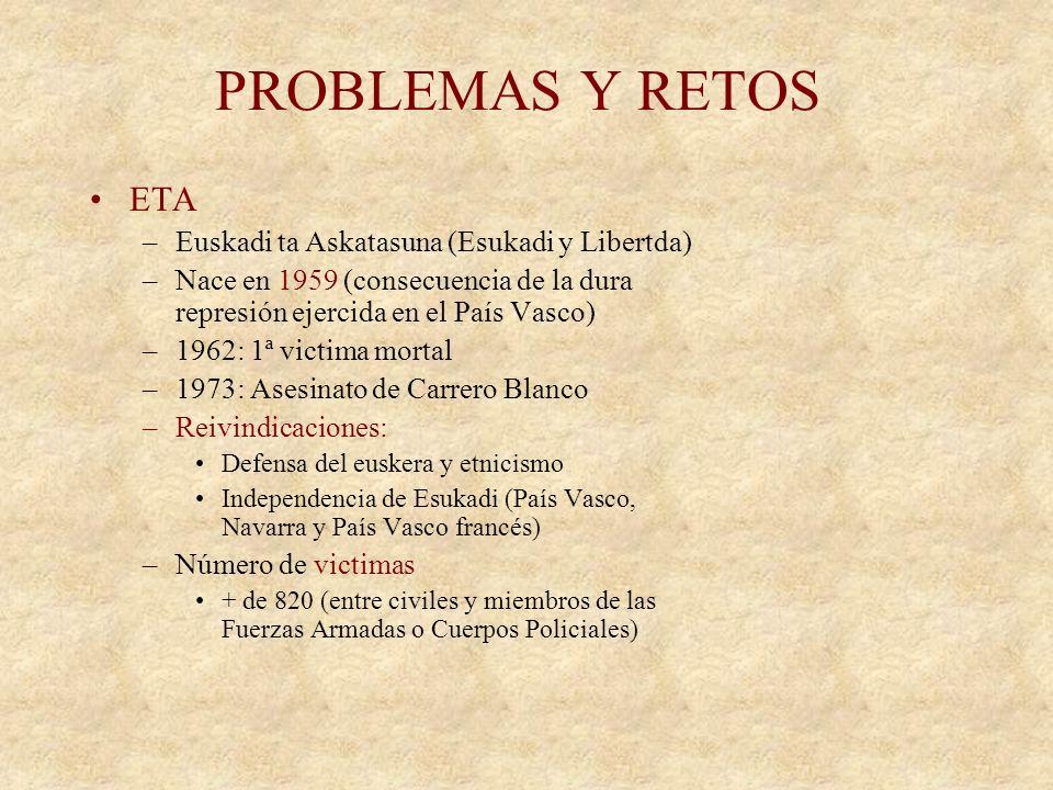 PROBLEMAS Y RETOS ETA PARO NATALIDAD INMIGRACION CRISIS ECONÓMICA