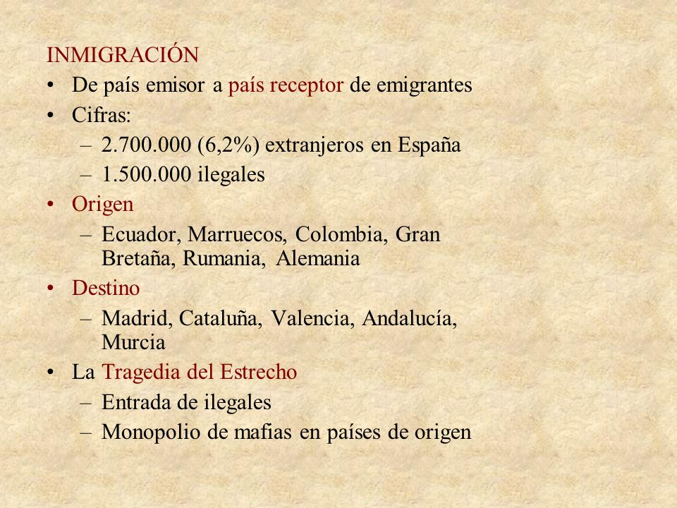 INMIGRACIÓN De país emisor a país receptor de emigrantes. Cifras: 2.700.000 (6,2%) extranjeros en España.