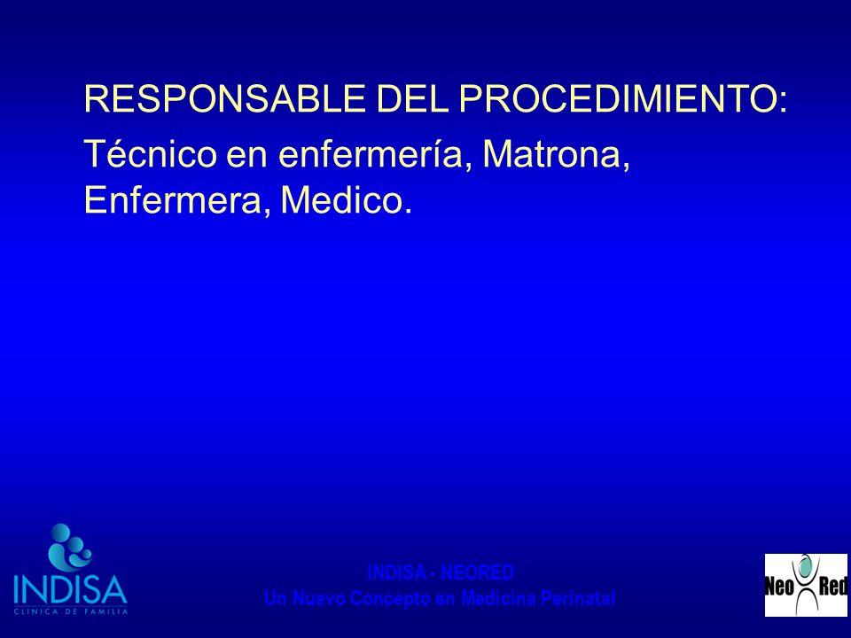 RESPONSABLE DEL PROCEDIMIENTO: