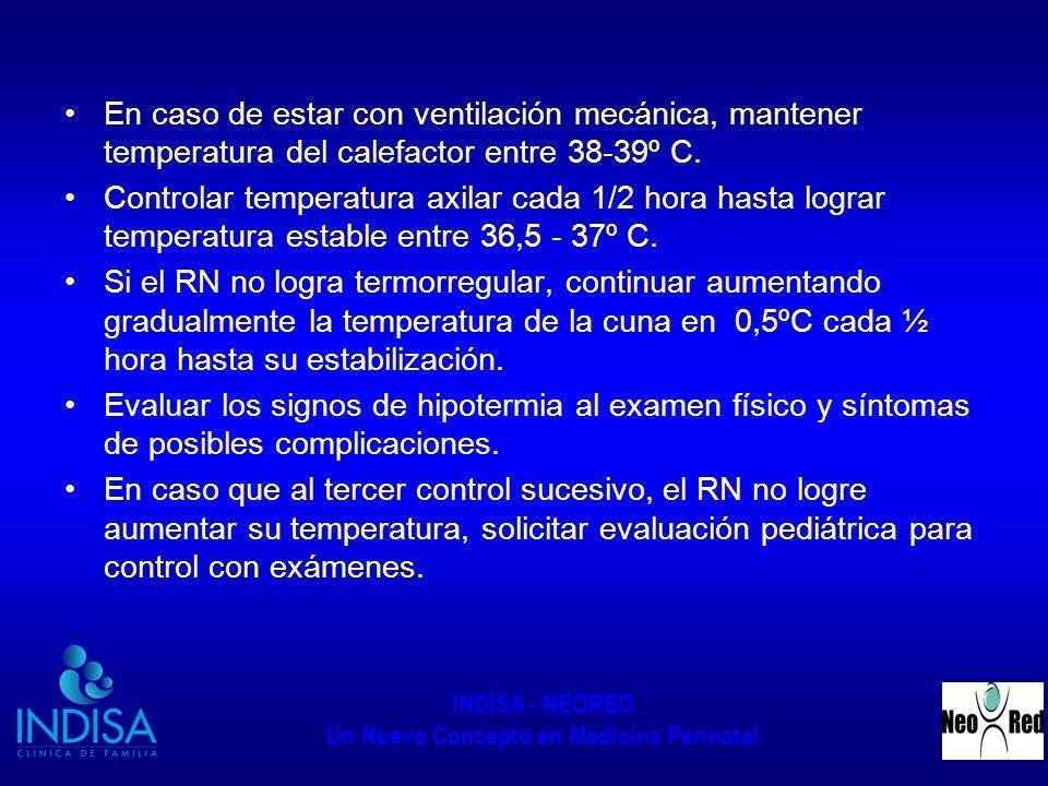 En caso de estar con ventilación mecánica, mantener temperatura del calefactor entre 38-39º C.