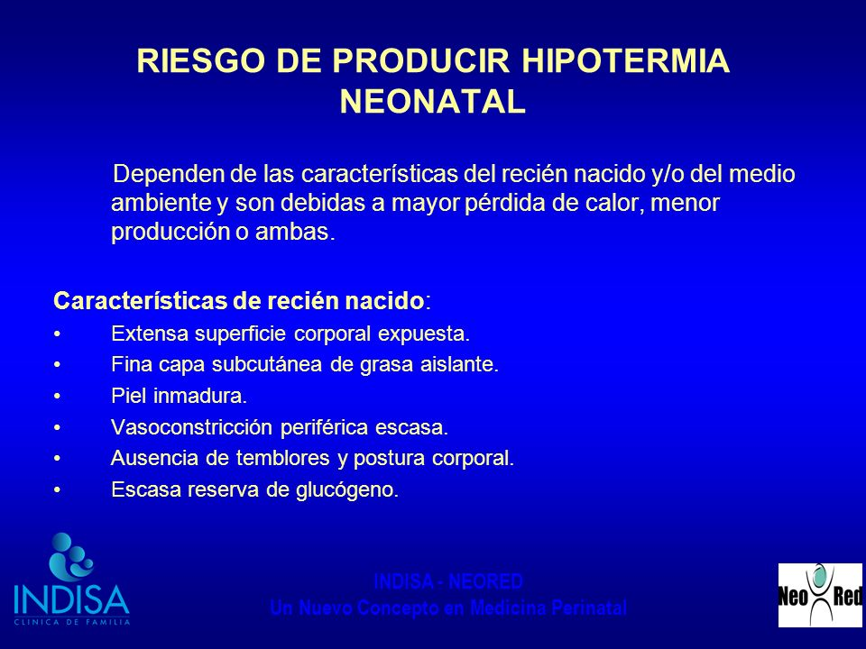 RIESGO DE PRODUCIR HIPOTERMIA NEONATAL