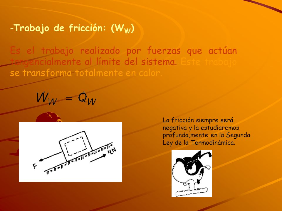 -Trabajo de fricción: (WW)