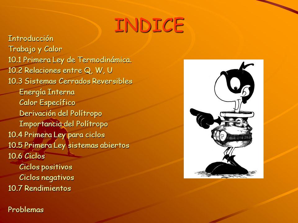 INDICE Introducción Trabajo y Calor 10.1 Primera Ley de Termodinámica.