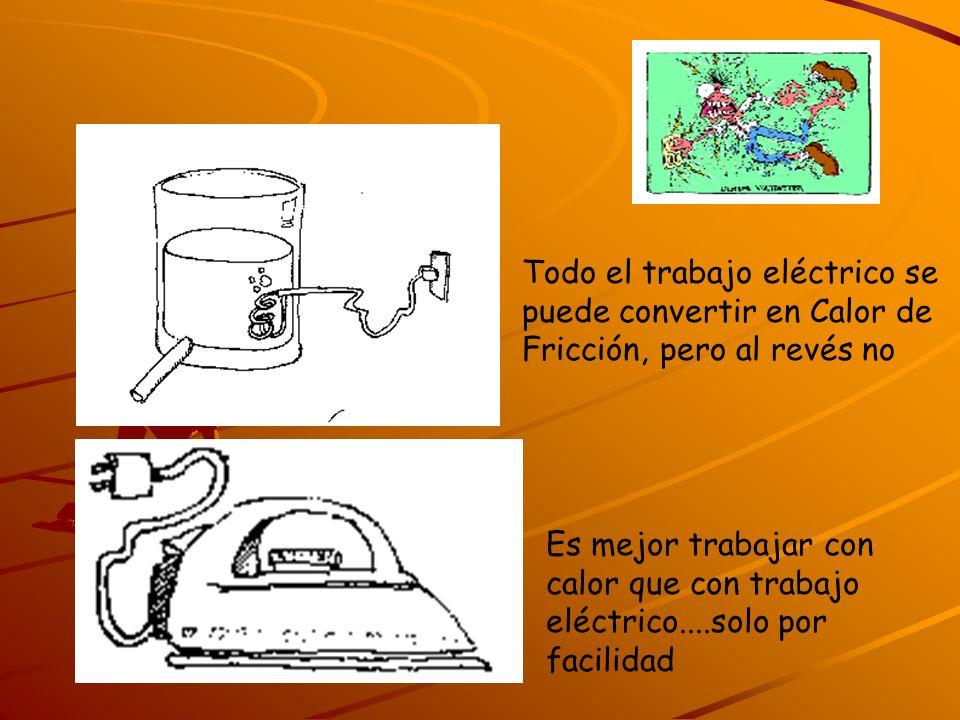 Todo el trabajo eléctrico se puede convertir en Calor de Fricción, pero al revés no