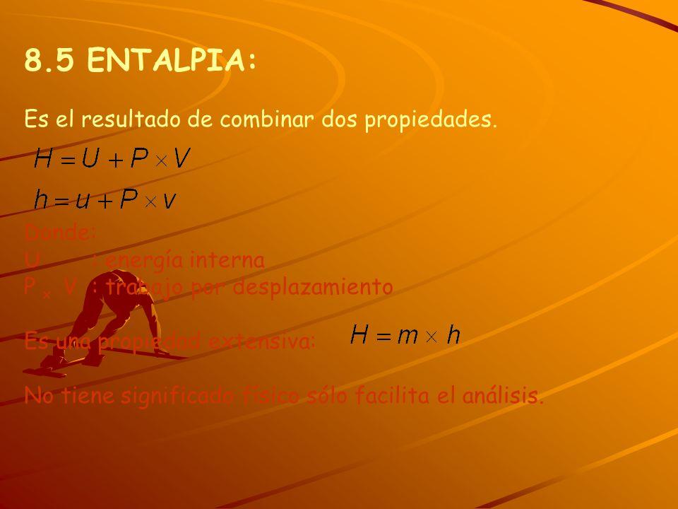 8.5 ENTALPIA: Es el resultado de combinar dos propiedades. Donde: