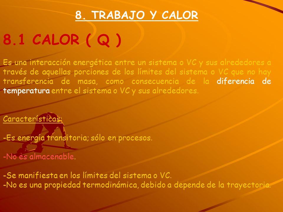 8.1 CALOR ( Q ) 8. TRABAJO Y CALOR