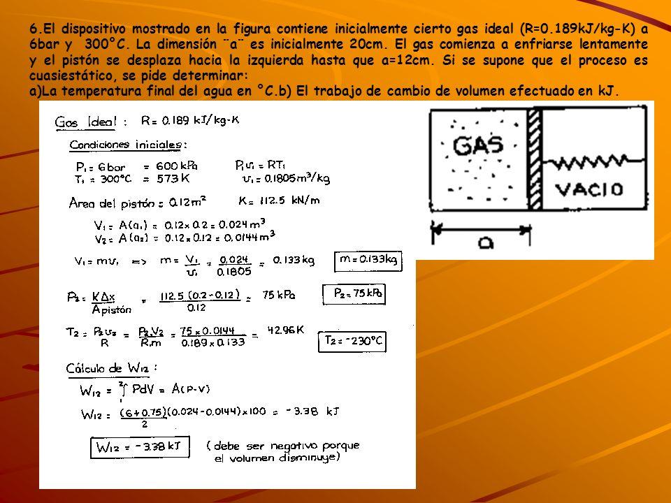6.El dispositivo mostrado en la figura contiene inicialmente cierto gas ideal (R=0.189kJ/kg-K) a 6bar y 300°C. La dimensión ¨a¨ es inicialmente 20cm. El gas comienza a enfriarse lentamente y el pistón se desplaza hacia la izquierda hasta que a=12cm. Si se supone que el proceso es cuasiestático, se pide determinar:
