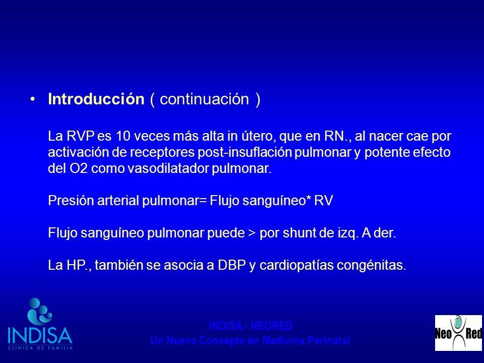 Introducción ( continuación ) La RVP es 10 veces más alta in útero, que en RN., al nacer cae por activación de receptores post-insuflación pulmonar y potente efecto del O2 como vasodilatador pulmonar.