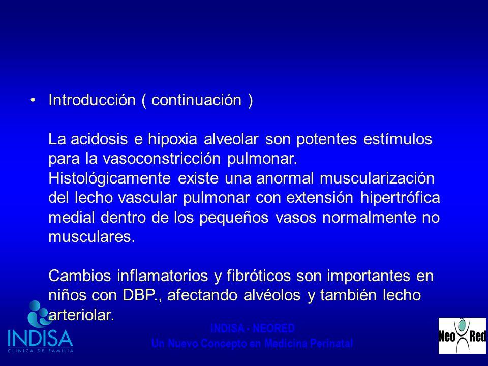 Introducción ( continuación ) La acidosis e hipoxia alveolar son potentes estímulos para la vasoconstricción pulmonar.