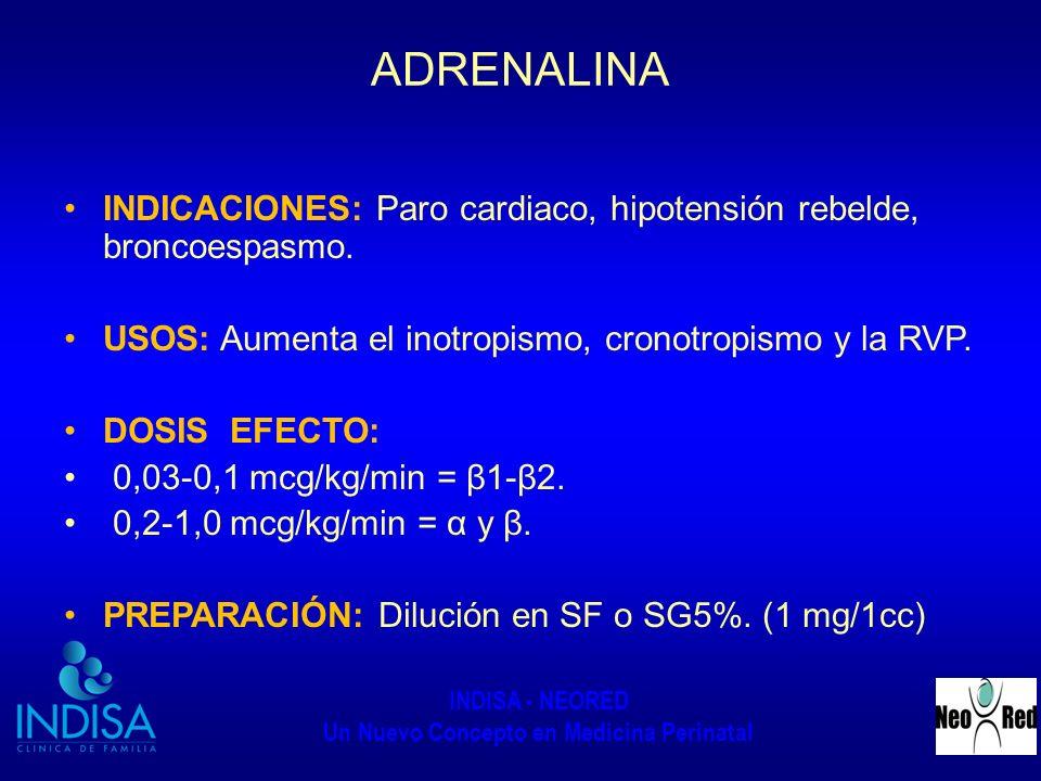 ADRENALINA INDICACIONES: Paro cardiaco, hipotensión rebelde, broncoespasmo. USOS: Aumenta el inotropismo, cronotropismo y la RVP.