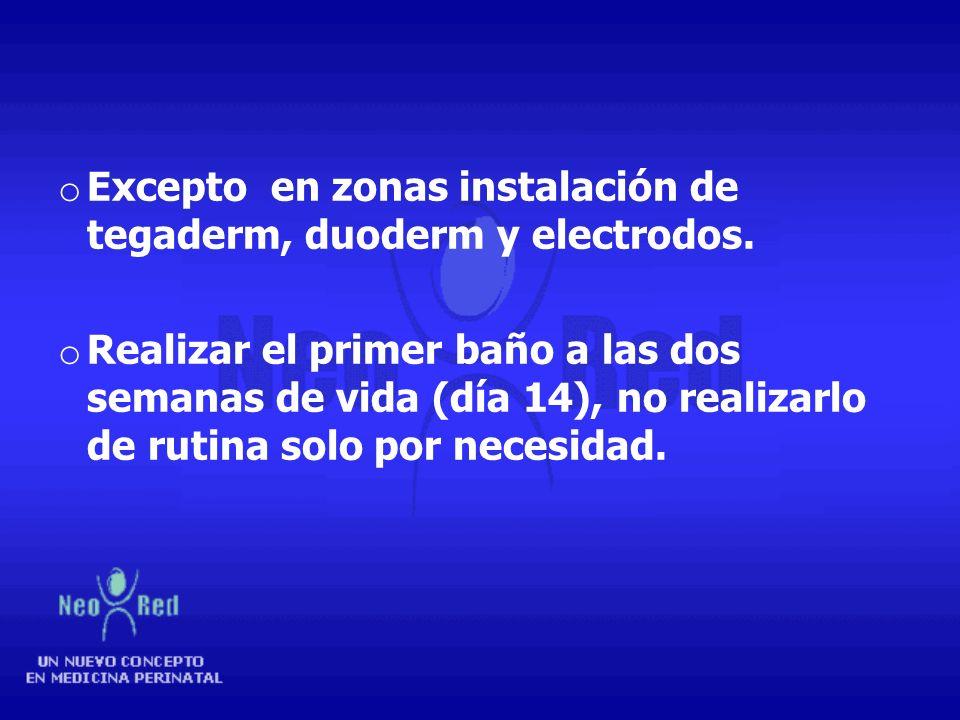 Excepto en zonas instalación de tegaderm, duoderm y electrodos.