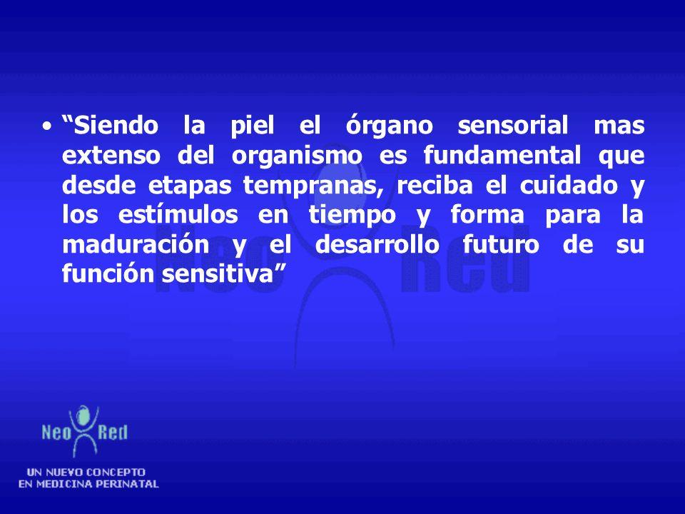 Siendo la piel el órgano sensorial mas extenso del organismo es fundamental que desde etapas tempranas, reciba el cuidado y los estímulos en tiempo y forma para la maduración y el desarrollo futuro de su función sensitiva