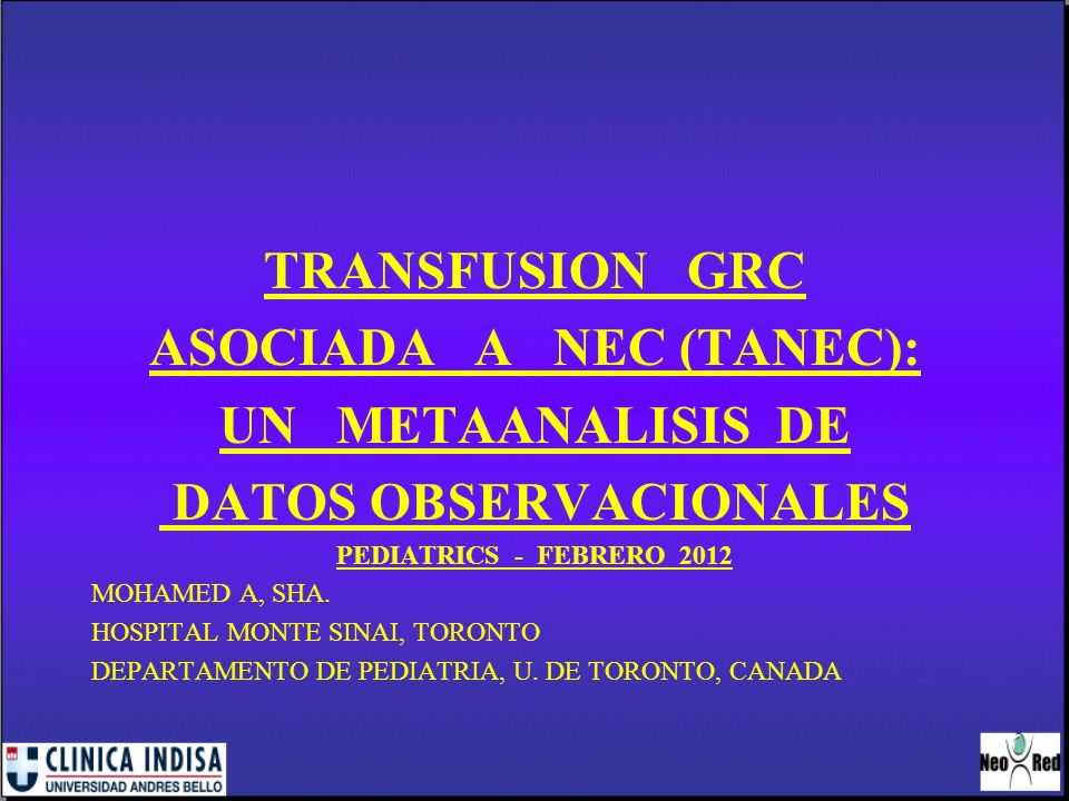 ASOCIADA A NEC (TANEC): DATOS OBSERVACIONALES