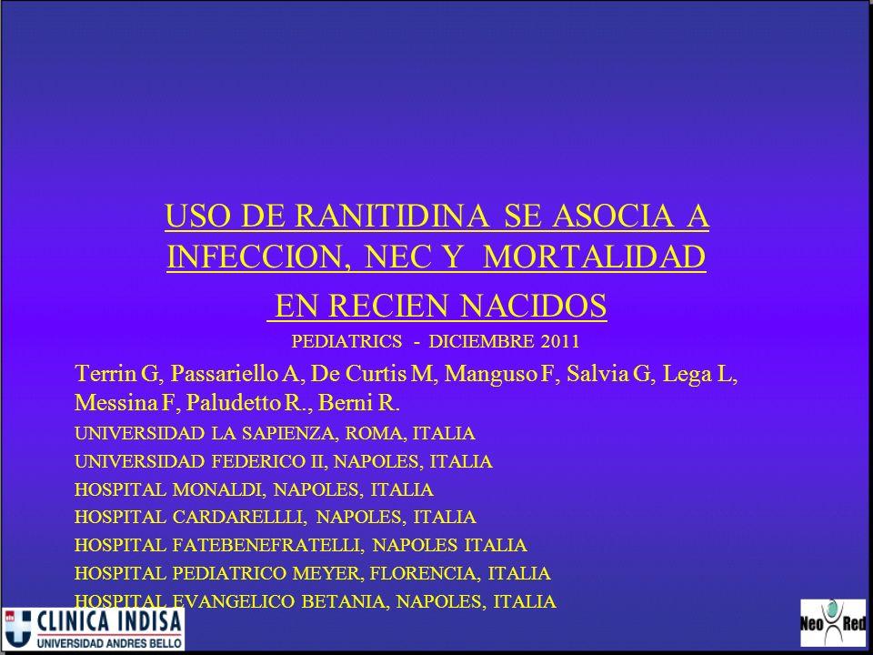 USO DE RANITIDINA SE ASOCIA A INFECCION, NEC Y MORTALIDAD