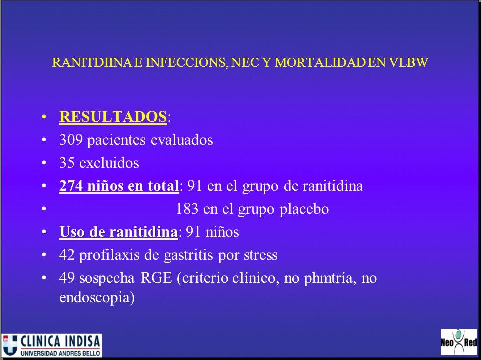 RANITDIINA E INFECCIONS, NEC Y MORTALIDAD EN VLBW