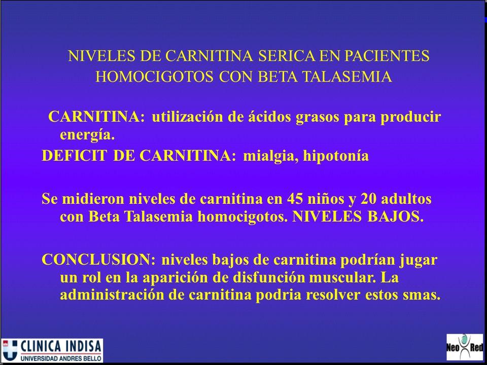 NIVELES DE CARNITINA SERICA EN PACIENTES HOMOCIGOTOS CON BETA TALASEMIA