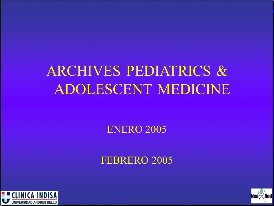 ARCHIVES PEDIATRICS & ADOLESCENT MEDICINE
