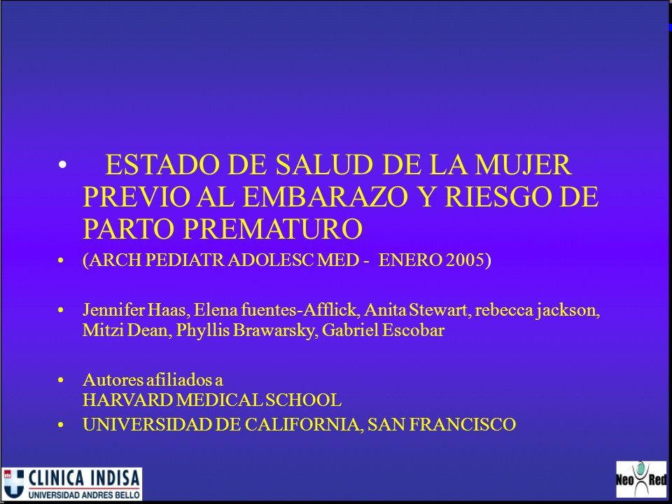 ESTADO DE SALUD DE LA MUJER PREVIO AL EMBARAZO Y RIESGO DE PARTO PREMATURO