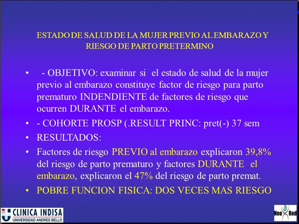 ESTADO DE SALUD DE LA MUJER PREVIO AL EMBARAZO Y RIESGO DE PARTO PRETERMINO