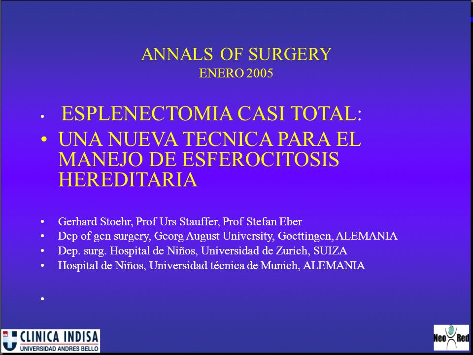 ANNALS OF SURGERY ENERO 2005