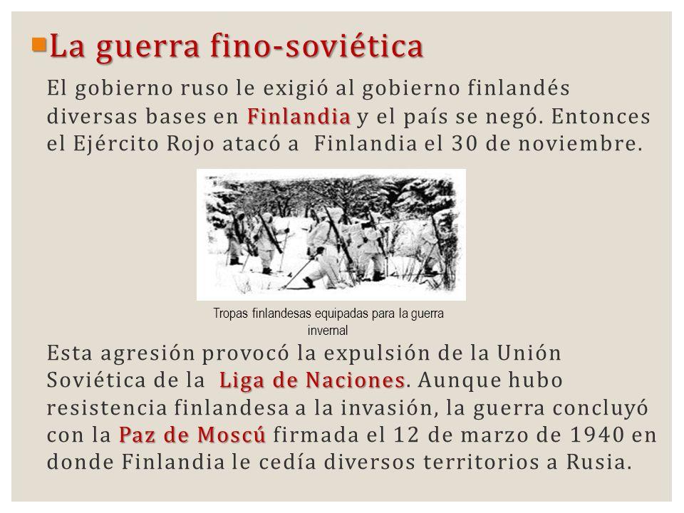 Tropas finlandesas equipadas para la guerra invernal