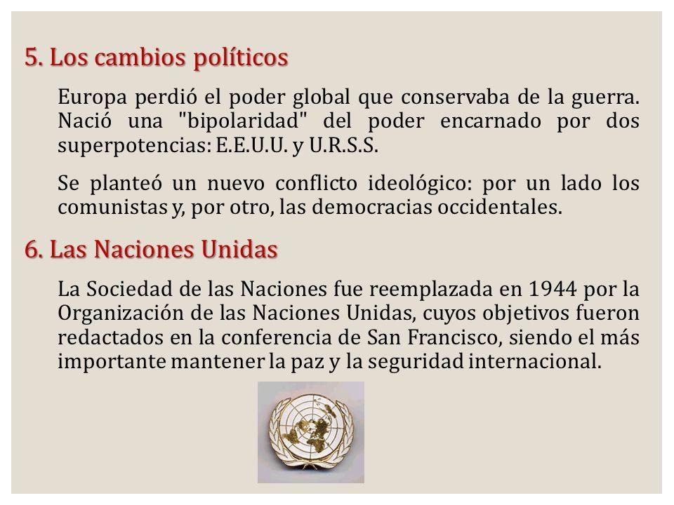 5. Los cambios políticos 6. Las Naciones Unidas