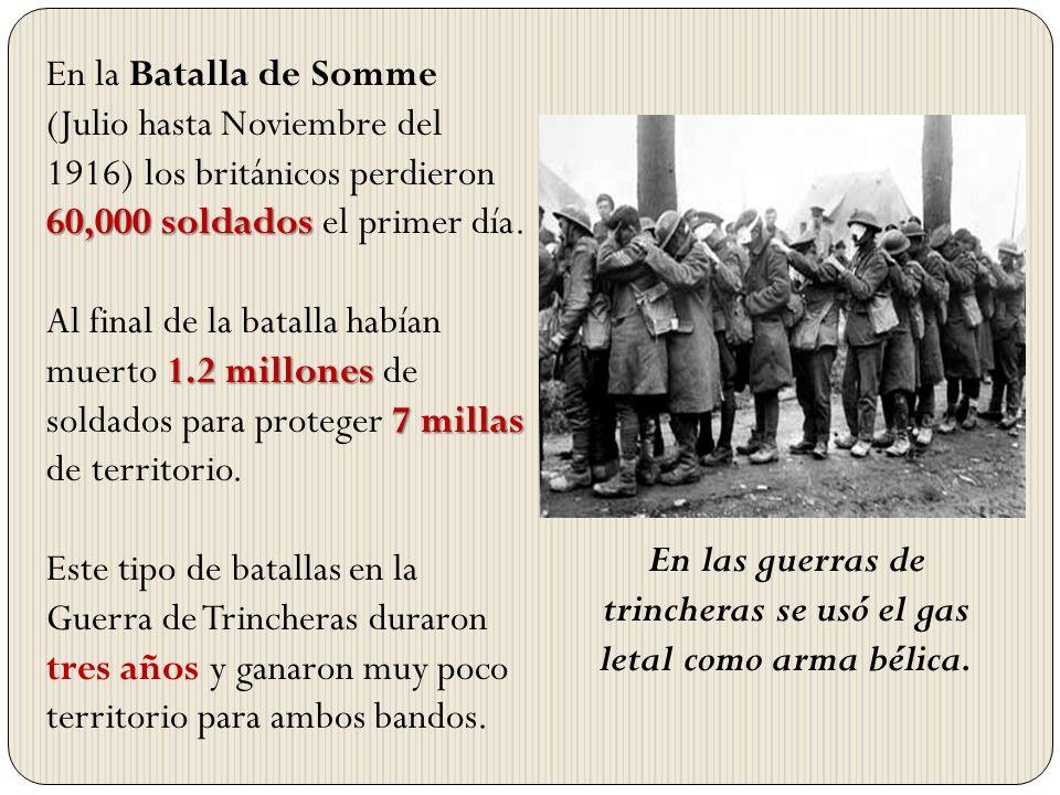 En las guerras de trincheras se usó el gas letal como arma bélica.