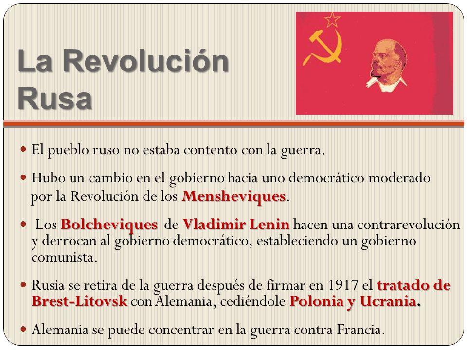 La Revolución Rusa El pueblo ruso no estaba contento con la guerra.