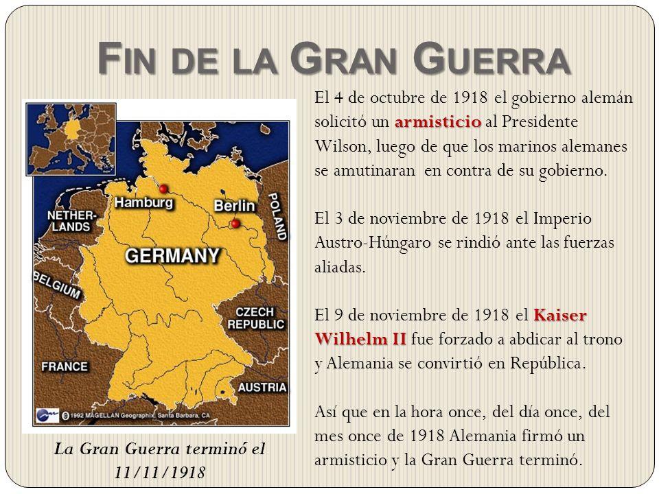 La Gran Guerra terminó el 11/11/1918