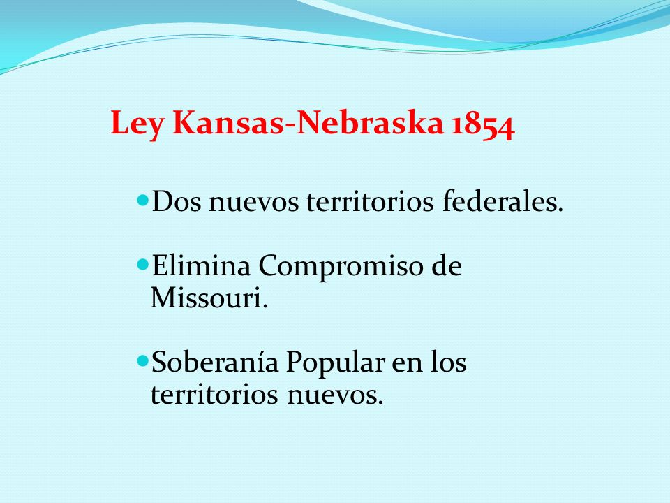Ley Kansas-Nebraska 1854 Dos nuevos territorios federales.