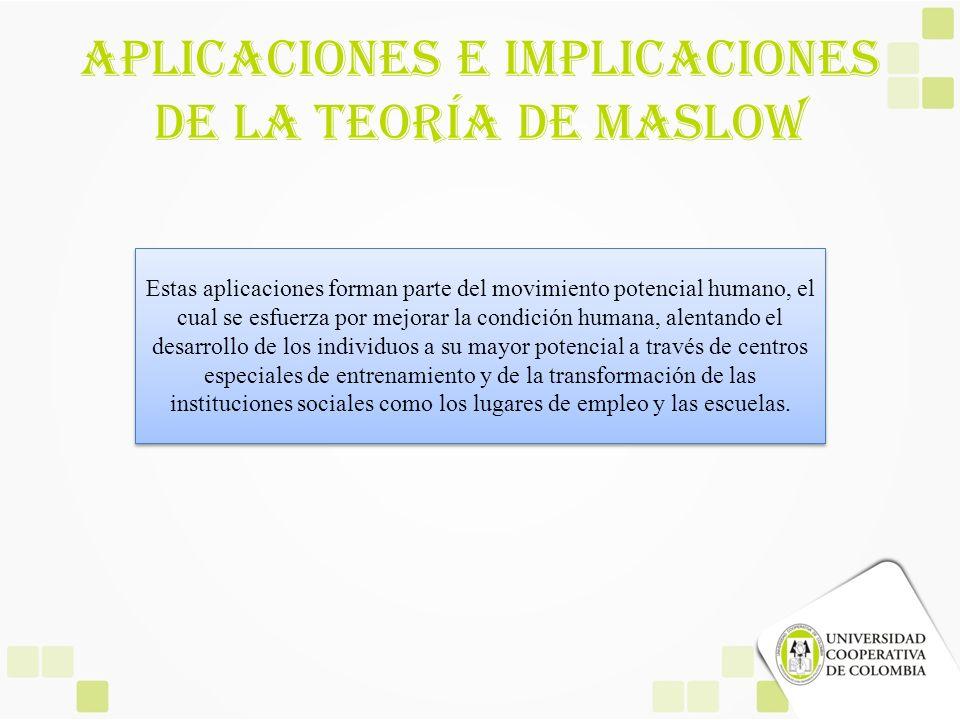 Aplicaciones E Implicaciones De La Teoría De Maslow