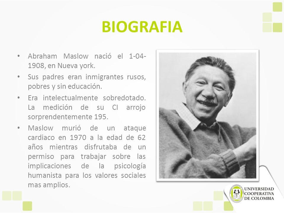 BIOGRAFIA Abraham Maslow nació el 1-04-1908, en Nueva york.