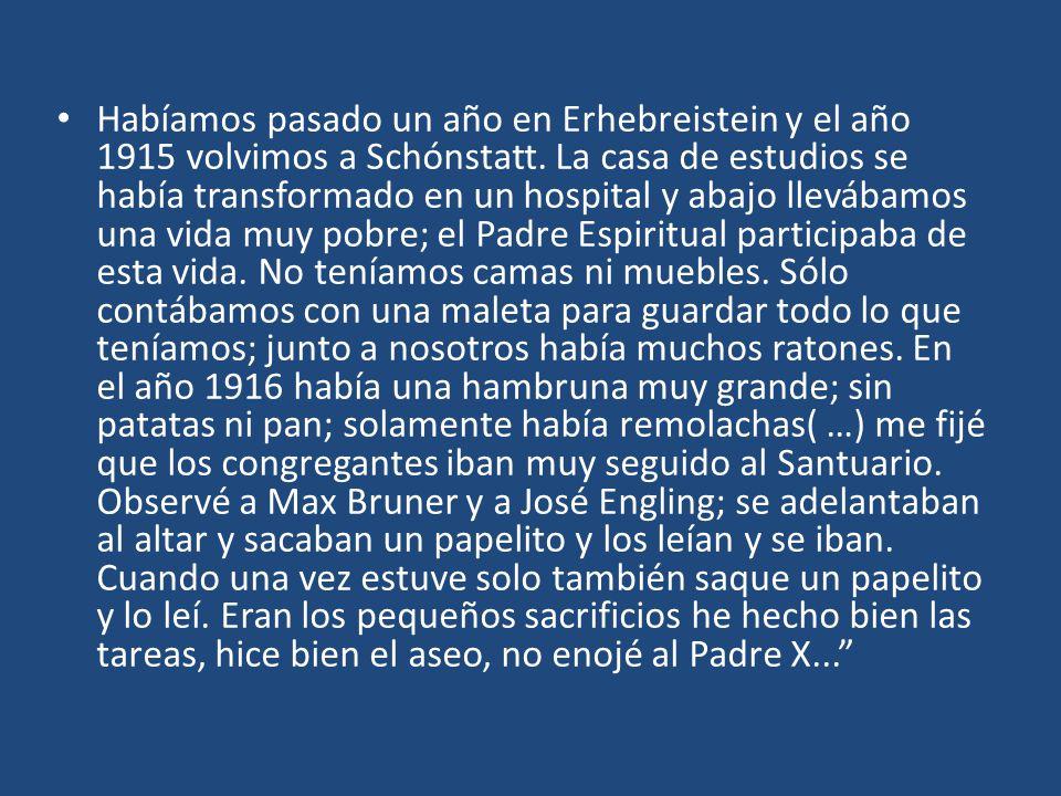 Habíamos pasado un año en Erhebreistein y el año 1915 volvimos a Schónstatt.